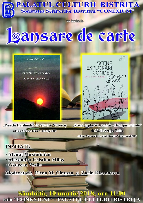 """Lansare de carte - """"Puncte Cardinale"""" de Nicoale Vrăsmaș - sâmbătă 10 martie 2018"""