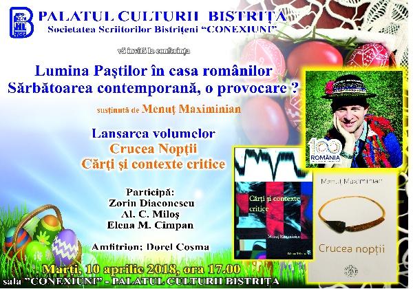 Conferință și lansare de carte - Menuț Maximinian, marți 10 aprilie 2018, ora 17.00