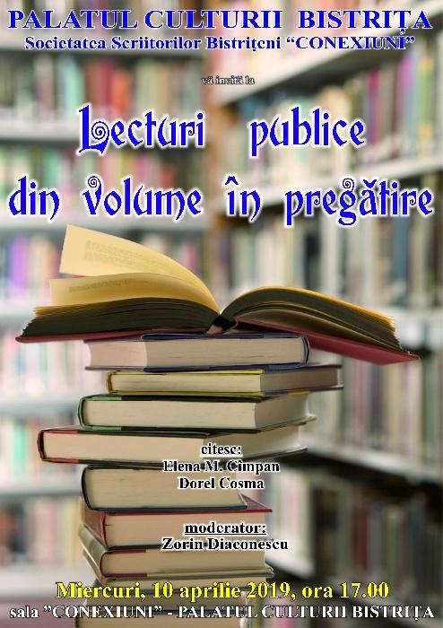 Lecturi publice din volume în pregătire - Miercuri, 10 Aprilie 2019, ora 17.00