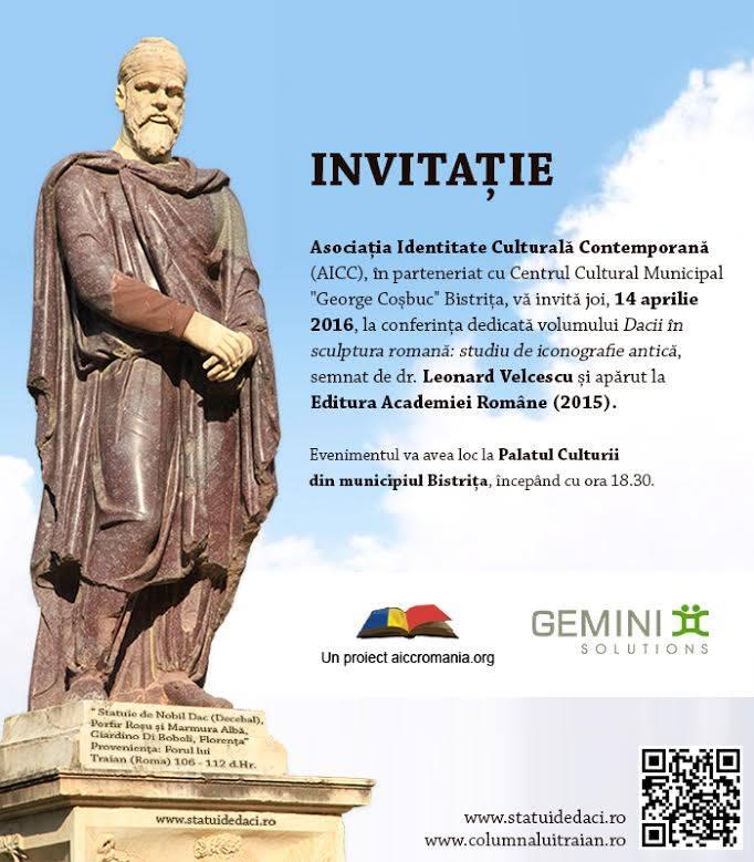 Conferinta -Dacii in sculptura romana- joi, 14 aprilie 2016, ora 18.30