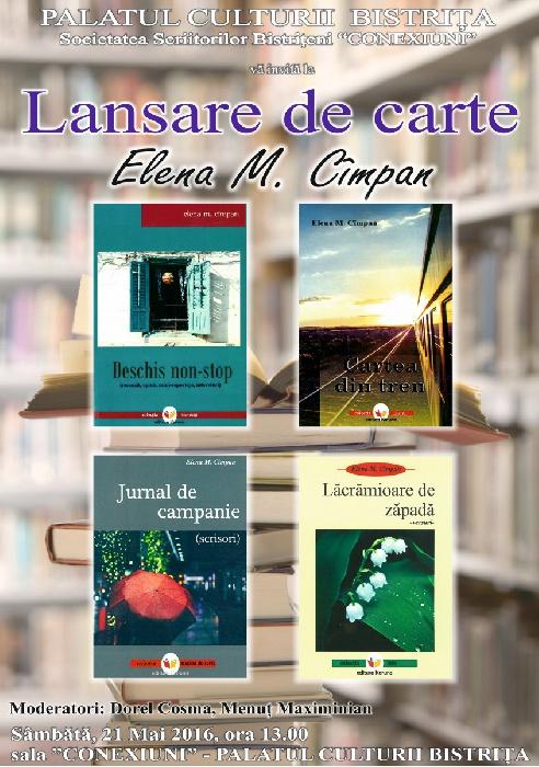 Lansare de carte - Elena M. Cimpan - Sambata 21 Mai 2016, ora 13.00