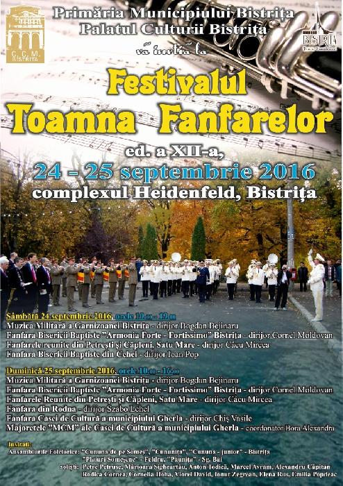 Festivalul TOAMNA FANFARELOR, 24 - 25 septembrie 2016, complexul Heidenfeld - Bistrita