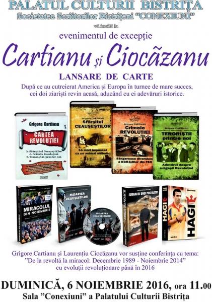 Lansare de carte - Cartianu si Ciocazianu - duminica, 6 noiembrie 2016, ora 11.00