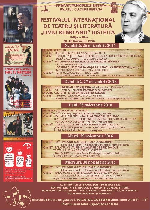 Festivalul International de Teatru si Literatura -Liviu Rebreanu- 26 - 30 noiembrie 2016