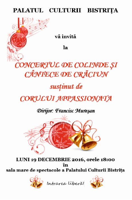 Concert de Craciun - Appassionata- Luni, 19 decembrie 2016, ora 18.00