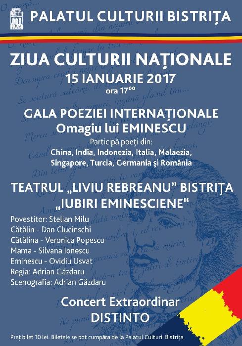 Ziua Culturii Nationale - 15 Ianuarie 2017, ora 17.00