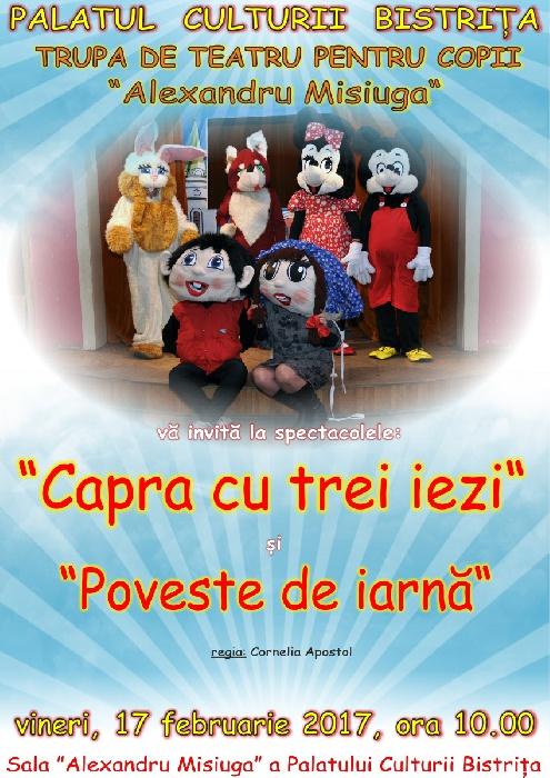 Spectacol pentru copii cu Teatrul de Papusi -Alexandru Misiuga- vineri, 17.02.2017 ora 10.00