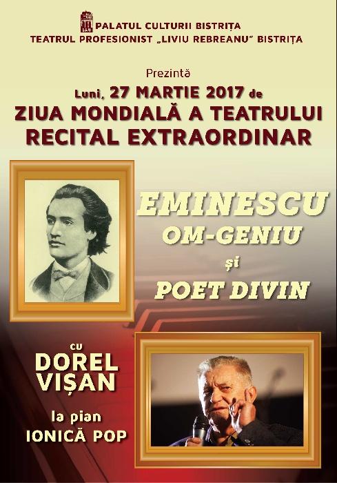 Dorel Visan - recital de Ziua Mondiala a Teatrului - Luni, 27 Martie 2017, ora 18.00