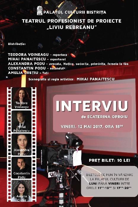 Teatrul Profesionist -Liviu Rebreanu- Bistrita, vineri 12 mai 2017, ora 18.00