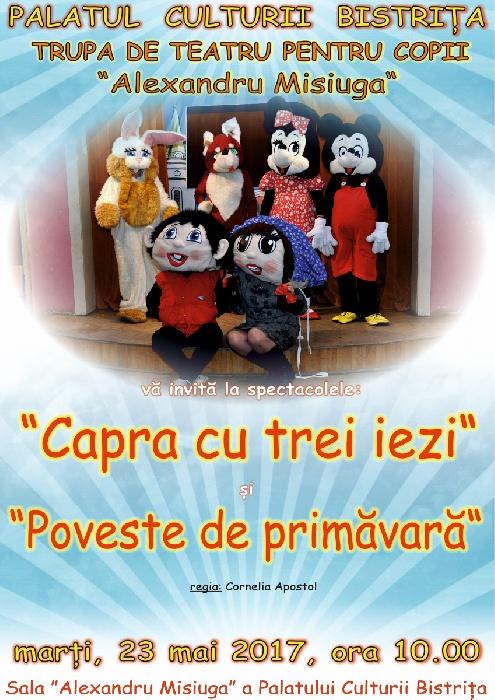 """Teatru de Papusi """"Al. Misiuga"""" Bistrita - marti, 23 Mai 2017, ora 10.00"""