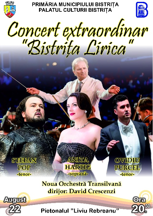CONCERT EXTRAORDINAR -BISTRITA LIRICA- Duminică, 22 august 2021, ora 20.30 - pietonal