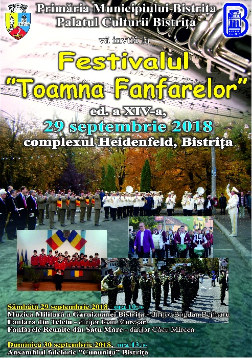 """Festivalul """"Toamna Fanfarelor"""" - sâmbătă, 29 septembrie 2018, începând cu orele 10.30 - Complex Heidenfeld - Viișoara"""