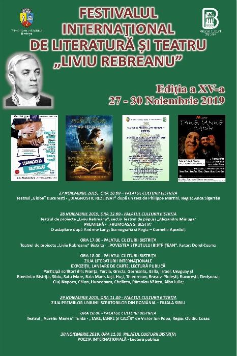 """Festivalul International de Teatru și Literatură """"Liviu Rebreanu"""" , 27-30 noiembrie 2019"""