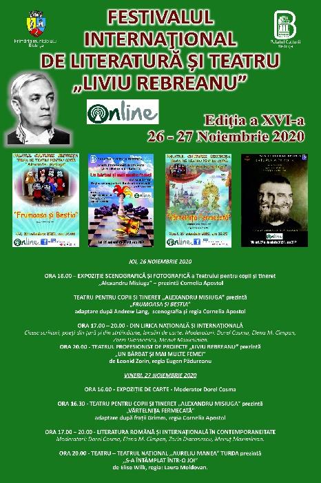 """Festivalul Internațional de Literatură și Teatru """"Liviu Rebreanu"""", 26 - 27 noiembrie 2020, OnLine"""