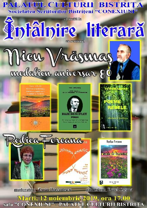 Intâlnire literară și lansare de carte - Marti, 12 noiembrie 2019, ora 17.00