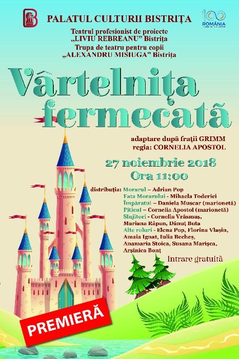 """Teatru pentru copii """"Vârtelnița fermecată"""" - Teatrul """"Al. Misiuga"""" Bistrița, regia Cornelia Apostol"""