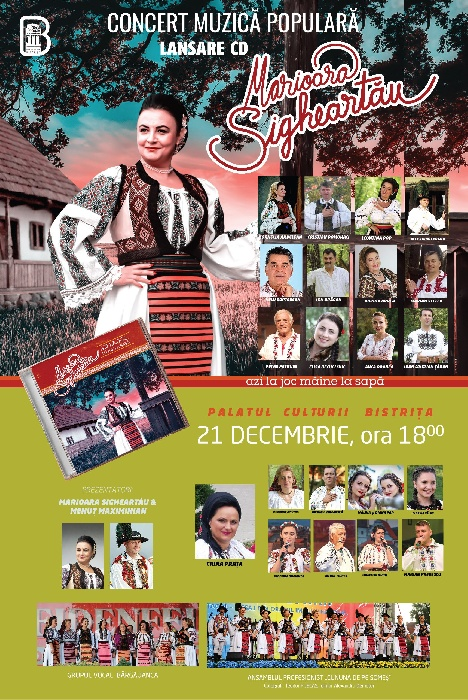 Concert de muzică populară, lansare album Mărioara Sigheartău - 21 decembrie 2019, ora 18.00