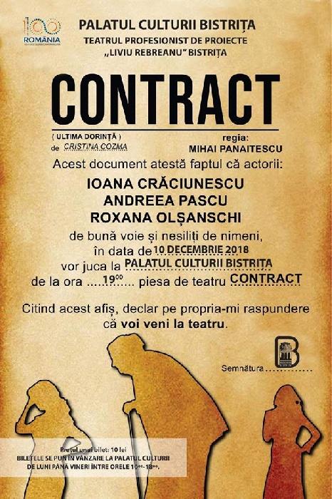 """Teatrul profesionist de proiecte """"Liviu Rebreanu"""" Bistrița - """"Contract"""" - 10 decembrie 2018, ora 19.00"""