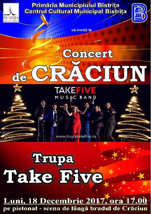 Concert Trupa TakeFive - Luni, 18 decembrie 2017, ora 17.00 - pietonal